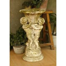 Putti & Fan Urn 20 Planter Pot  Urn - Folk Art Statuary - Durable Fiberstone