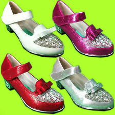 GIRLS DIAMANTE BOW KIDS PARTY WEDDING STRAP MARY JANE BLOCK HEELS SHOES SANDALS
