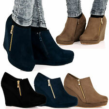 WOMENS BOOTS LADIES SHOES ANKLE HIGH WEDGES HEELS ZIP UPS SMART BOOTIE NEW SIZE