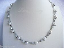 "18"" 8mm Real White Freshwater Pearl Clear Stunning Flower Necklace Present Bride"