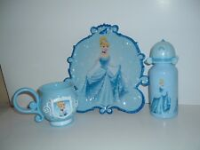 DISNEY CINDERELLA MEALTIME TABLEWARE~~PLATE,CUP AND WATER BOTTLE