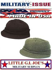 U.S. Made Military 100% Wool Jeep Cap W/Brim Watch Cap Hat Skull Cap 7708 7709