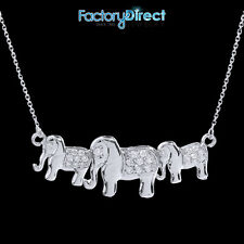 14k White Gold Diamonds Studded Three Elephant Pendant Necklace