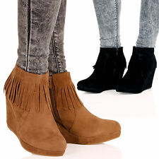 WOMENS BOOTS LADIES SHOES HIGH WEDGES HEELS ANKLE FRINGE COWBOY ZIP UP NEW SIZE