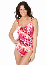 NWT $152 MIRACLESUIT 'ESCAPE' ONE PIECE UNDERWIRE SWIMSUIT,  12, 14 CORAL ORG