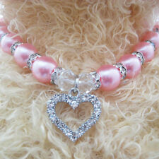 Crystal Heart Jewelry Pearls Necklace Dog Pet Collar Charm Pendant