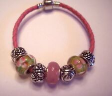Premier Pink Leather charm bracelet Pink Murano Glass beads Stones LRM Designs