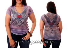 T137 PURPLE RHINESTONE HEART & WINGS  SUBLIMATION T-SHIRT WOMENS SIZE S M L