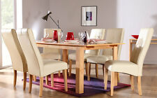 Bali & Logan Extending Oak Finish Dining Table & 4 6 Leather Chairs Set (Ivory)