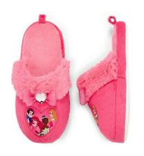 Girls NWT Disney PRINCESSES Plush Slippers Size 13/1 2/3 Princess Coral Fur Bow