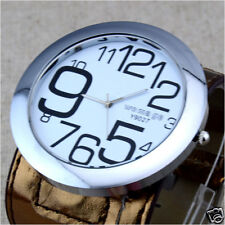 Large Numeral Dial Big Leather Wristband  Fashion Women Quartz Wrist Watch Gift