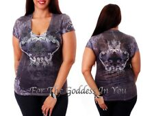 T155 RHINESTONE FLEUR DE LIS CROWN SUBLIMATION T- SHIRT WOMENS SIZE S M L