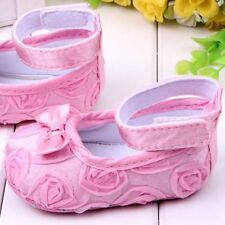 Lovely Baby Girls Mary Jane Soft Sole Rose Flower Prewalkers Cotton Shoes 4/5/6