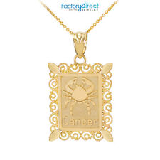 Polished Gold Cancer Zodiac Sign Rectangular Pendant Necklace