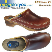 KLOGGA EXCLUSIVE CLOGS Swedish Grain 100% Leather Wooden Holzclogs Sabots Mules