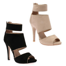 NEW WOMENS CUT OUT LADIES PEEP TOE ANKLE STRAP STILETTO HIGH HEEL SHOES SIZE 4-9