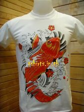 Chinese Japanese Carp Koi Fish Tattoo Slim Fit T-shirt Tee White Color New M-XL