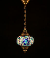 Turkish Mosaic Lamp Hand Crafted Hanging Lamp Oval Style Single Size 3 Blue
