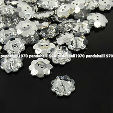 2-Hole Flower Faceted Acrylic Clear Rhinestone Buttons - Silver Plated Back
