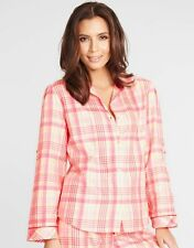 Cyberjammies Lounge In Style Vintage Check Pyjama Top Pink Cream Sizes 10-14 NWT
