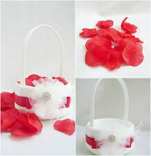 Ivory with red ribbon rose petals lace rhinestone wedding flower girl basket