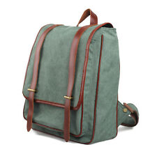 Unisex Adult Genuine Leather Canvas Backpack Students School Bag European Style