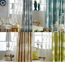 Snowflakes Cotton Linen Embroidered Curtain Custom Made Curtains Bedroom Curtain