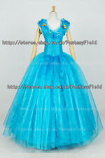 Cinderella Blue Formal Dress cosplay Costume 2015 movie  Lily James Party