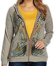 NEW One World Animal Print Heathered Knit Faux Suede Trim Zip Hoodie XS, S, M, L