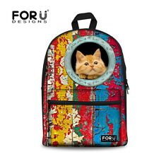 Cute Animal Cat Women's Canvas Travel Satchel Backpack,School Bags for Teenagers