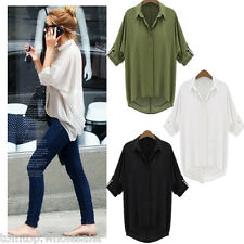 Fashion Sexy Women Chiffon Shirt Turn-down Collar Long Sleeve Loose Top Blouse