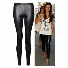 New Ladies Sexy Shiny Wet Look Black Leather Full Ankle Length Leggings,All Size