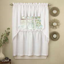 White Solid Opaque Ribcord Kitchen Curtains - Choice of Tiers Valance or Swag