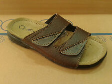 New Mens Leather Sandals Flip Flops Slides Velcro Shoes Summer Beach Black Brown
