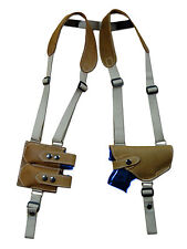 Barsony Olive Drab Leather Gun Shoulder Holster w/ Dbl Mag Pouch Bersa Comp 9mm
