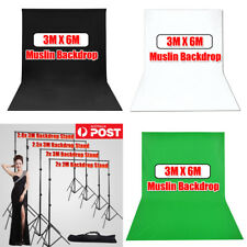 Photography Studio 3x6m Black White Green Video Muslin Backdrop Background Kit