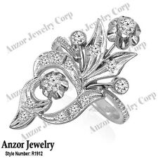 Russian Style Jewelry Genuine Diamond Ring in 14k Solid White Gold 4 to 9.#R1912