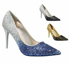 NEW Ladies Party Sparkly Diamante Ankle Straps Low Kitten Heel Shoes Sandal Size