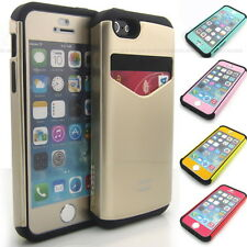 For APPLE iPhone 5 5S Case Shock Armor Card holder cover + color film package