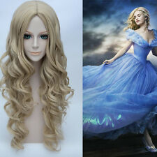 Princess Cinderella Long Wavy Blonde Style Synthetic Cosplay Wigs +free wig cap