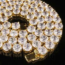 18k Gold 1 Row 8MM Lab Diamond Iced Out Chain Men's Hip Hop Tennis Necklace