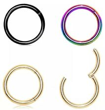 Septum Clicker Nose Ear Ring Captive Hinged Segment Titanium Colour Piercing