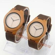 BEWELL Lovers Carbonized Bamboo Wooden Genuine Leather Men Women Wrist Watches