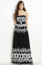NWT-289-BCBG MAX&CLEO DRESS BLACK white 2 4 (XS S) LONG GOWN FULL LENGTH JERSEY