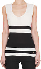 Salvatore Ferragamo Women's Striped White and Black Sleeveless Top Shirt M L