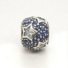 New Follow the Stars blue & Clear CZ  Silver Charms