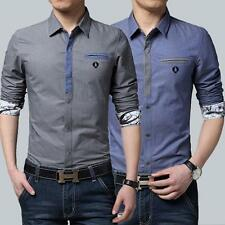 Contrast Color Slim Men's Casual Shirts Long Sleeve Button Down Shirt 50% Cotton