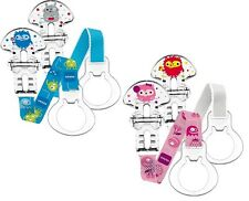 NEW! MAM Baby Soother / Pacifier / Dummy Clips, pack of 2. GIRL / BOY designs.