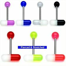 1.6mm x 16mm Barbell Pill Tongue Bars available in 7 different Colours