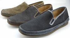 John Varvatos Hester Mens Canvas and Leather Slip On Sidegore Loafers